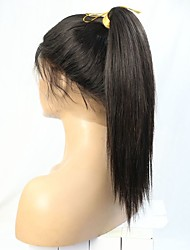 cheap -Remy Human Hair Lace Front Wig Brazilian Hair Straight 360 Frontal With Ponytail With Baby Hair 180% Density Natural Hairline High Ponytail Virgin