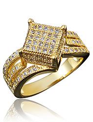 Anel Zircônia cúbica Chapeado Dourado 18K ouro Dourado Branco Jóias Casamento Festa Diário Casual 1peça