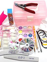 economico -24sets nuovi modelli kit manicure intagliano i disegni punte del chiodo configurazione scatola OPI legno 100pcs