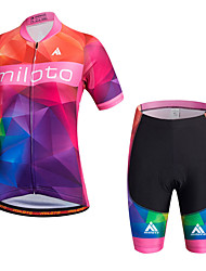 Miloto Cycling Jersey with Shorts Women's Short Sleeves Bike Bib Shorts Shorts Shirt Sweatshirt Jersey Bib Tights Tops Quick Dry Moisture