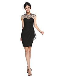 cheap -Sheath / Column Jewel Neck Short / Mini Chiffon Cocktail Party / Homecoming / Prom / Holiday Dress with Beading Pleats Ruched by TS