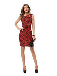 economico -Attillato Vestito Da donna-Casual / Ufficio Sensuale / Moda città Monocolore Rotonda Sopra il ginocchio Senza maniche Rosso PoliesterePer
