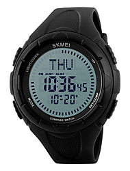 SKMEI Herre Sportsur Armbåndsur Digital LED Kompas Kalender Vandafvisende alarm Stopur Selvlysende i mørke PU Bånd Sej Sort Grøn Sort Grøn