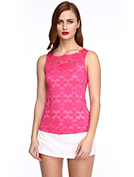 cheap -Summer Plus Size Women Solid Color Round Neck Sleeveless Lace Vest Slim Was Thin T-shirt Tops