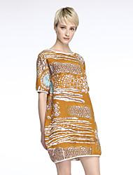 cheap -Women's Casual/Print/Cute/Plus Sizes Inelastic Short Sleeve Knee-length Dress (Cotton/Linen/Knitwear)