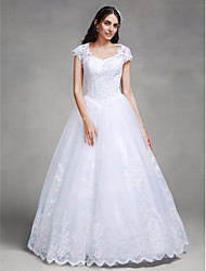 cheap -Ball Gown Queen Anne Floor Length Lace Tulle Custom Wedding Dresses with Beading Appliques by LAN TING BRIDE®