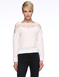 Women's Lace Short Pullover,Solid White Black Long Sleeve Polyester Spring Fall Medium Stretchy