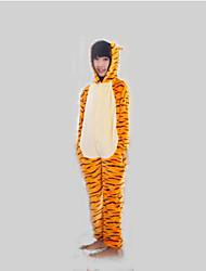 baratos -Crianças Pijamas Kigurumi Tiger Pijamas Macacão Flanela Tosão Laranja Cosplay Para Meninos e meninas Pijamas Animais desenho animado Festival / Celebração Fantasias