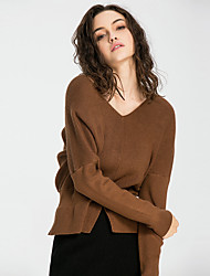 JoanneKitten Women's Going out / Casual/ Daily / Holiday Sexy / Street chic / Sophisticated All Seasons / Winter T-shirt Solid V Neck Long Sleeve