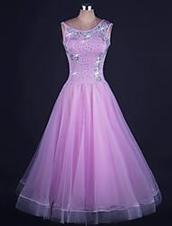abordables -Danse de Salon Robes Femme Utilisation Organza / Lycra Billes Sans Manches Taille moyenne Robe