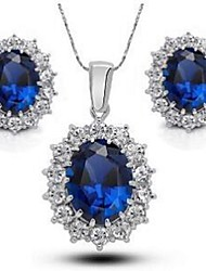 Jewelry 1 Necklace 1 Pair of Earrings Rhinestone Wedding Party Crystal Alloy Rhinestone Silver Plated 1set Women Blue Wedding Gifts