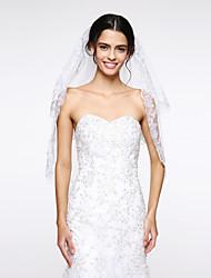Véus de Noiva Duas Camadas Véu Cotovelo Borda com aplicação de Renda Rede