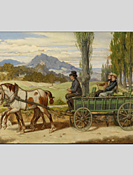 Peint à la main Animal Paysages Abstraits Peinture à l'huile + Prints,Moderne Pastoral Un Panneau Toile Peinture à l'huile Hang-peint For