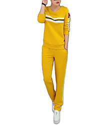 Women's Sports Active Blouse Pant Suits,Striped Round Neck Long Sleeve
