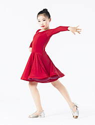 Latin Dance Dresses Children's Performance Spandex Polyester Ruffles 1 Piece Long Sleeve Natural Dress