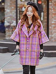 Cappotto Da donna Casual Vacanze Per uscire Autunno Inverno Romantico Moda città Sofisticato,Monocolore A quadri Bavero classicoLana