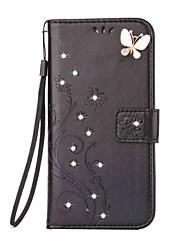 economico -Custodia Per Samsung Galaxy A5(2016) A3(2016) A portafoglio Porta-carte di credito Con diamantini Con supporto Con chiusura magnetica