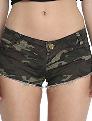 Donna Club a vita alta Pantaloncini Camouflage Jeans Mostra Thin Hot Pants