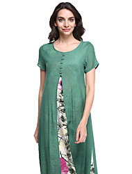 cheap -Women's Going out Vintage Loose Dress,Floral Round Neck Midi Short Sleeves Linen Summer Mid Rise Micro-elastic