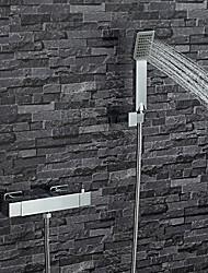 Недорогие -Современный Только душ Ручная лейка входит в комплект Термостатический Медный клапан Два отверстия Две ручки двумя отверстиями Хром,