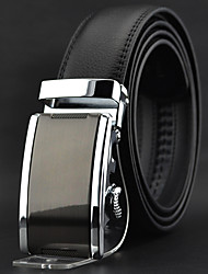 Men Black Leather Casual Automatic Buckle Waist Belt Work / Casual Alloy / Leather All Seasons