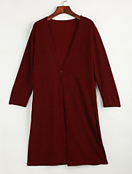 cheap -Long Sleeve Long Cardigan - Solid Colored / Spring / Fall