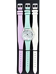 economico -Per uomo Orologio alla moda Orologio braccialetto Quarzo Pelle Banda Ciondolo Casual Bianco Blu Viola
