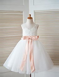 cheap -A-Line Knee Length Flower Girl Dress - Lace Tulle Sleeveless Scoop Neck with Bow(s) Sash / Ribbon by LAN TING BRIDE®