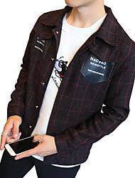 Bomull Polyester Blå Rød Sort Medium Langermet,Skjortekrage Jakke Ensfarget Stripet Vintage Enkel GatemoteUt på byen Fritid/hverdag