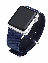 abordables -Reloj de la venda para el reloj de la manzana 38m m 42m m lona de nylon y correa de la venda del reloj de cuero hebilla clásica
