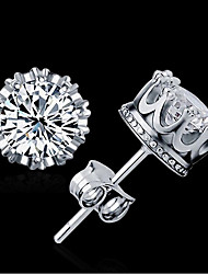 cheap -AAA Cubic Zirconia Stud Earrings Jewelry Women Wedding Zircon 1 pair Gold Silver