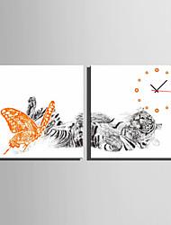 Moderno/Contemporâneo Outros Relógio de parede,Quadrada Tela40 x 40cm(16inchx16inch)x2pcs/ 50 x 50cm(20inchx20inch)x2pcs/ 60 x