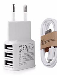 abordables -Enchufe EU Enchufe USA Cargador USB del teléfono Puertos Múltiples 100 cm Outlets 3 Puertos USB 2.1A AC 100V-240V