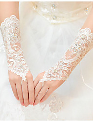 Tulle Wrist Length Glove Bridal Gloves With Rhinestone
