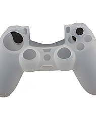 Custodia in Silicone Protector e 2 Manopole Thumb Stick per PS4 Controller (bianco)