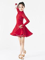 Latin Dance Dresses Children's Performance Spandex Ruffles 1 Piece Long Sleeve Natural Dress
