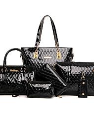 女性用 バッグ PU バッグセット 6個の財布セット のために カジュアル オールシーズン ベージュ フクシャ Brown レッド ブルー