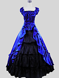 cheap -Victorian Costume Women's Dress Skirt Blue Vintage Cosplay Charmeuse Cotton Short Sleeves Cap Ankle-length