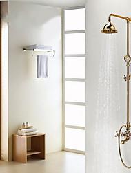 Недорогие -Смеситель для душа - Античный Ti-PVD Душевая система Керамический клапан Bath Shower Mixer Taps / Латунь / Две ручки три отверстия