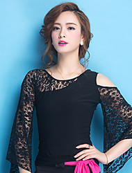 cheap -Ballroom Dance Tops Women's Training Lace / Viscose Lace Long Sleeve Natural Top