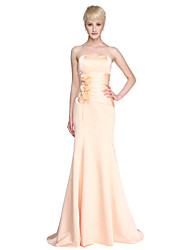Mermaid / Trumpet Strapless Sweetheart Floor Length Satin Bridesmaid Dress with Draping Flower(s) by LAN TING BRIDE®