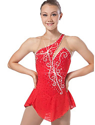 cheap -Figure Skating Dress Women's Girls Girls' Ice Skating Dress Red Rhinestone Sequined High Elasticity Performance Practise Leisure Sports