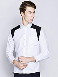 Men's Hit Color Agent Wind Pocket Long Sleeve Shirt Patchwork Shirt Collar Long Sleeve Blue / White / Black Cotton / Spandex Thin