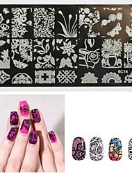 baratos -1 pcs Placa de Estampagem Modelo arte de unha Manicure e pedicure Fashion Diário / Placa de Carimbar / Metal