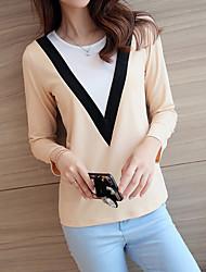 Tee-shirt Femme,Couleur Pleine Décontracté / Quotidien simple Printemps Automne Manches Longues Col Arrondi Beige Vert Orange Coton Moyen
