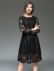 Women's Casual/Daily Simple Sheath Dress,Jacquard Round Neck Knee-length Long Sleeve Black Gray Polyester Spring Fall Mid Rise Inelastic