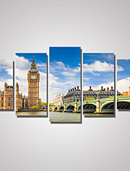 5 Panels London The Ben Clock Printed Canvas Crafts Wall Decor for Home Decoration Unframed