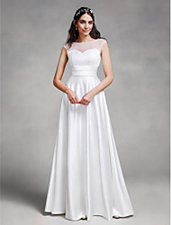 cheap -A-Line Illusion Neck Floor Length Satin Made-To-Measure Wedding Dresses with Sash / Ribbon by LAN TING BRIDE® / See-Through