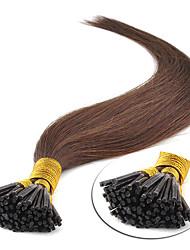 baratos -Febay Queratina / Ponta I Extensões de cabelo humano Liso Cabelo Humano Loiro Morango Ruivo Escuro Marrom Médio
