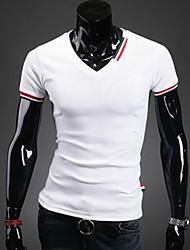 Tee-shirt Homme,Couleur Pleine Décontracté / Quotidien Manches Courtes Coton Polyester